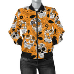 Orange Sugar Skull Women's Bomber Jacket