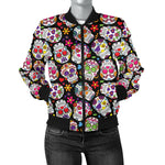 Multi-Colored Sugar Skull Women's Bomber Jacket