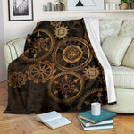 Steampunk Clock & Cogs Blanket - Hello Moa