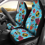 Blue Sugar Skull Car Seat Covers