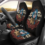 Blue Hair Sugar Skull Seat Covers