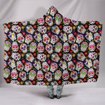 Multi-Colored Sugar Skull III Hooded Blanket
