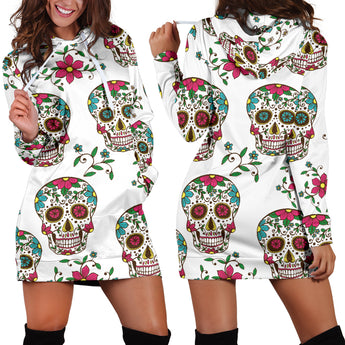 White Skulls Women's Hoodie Dress