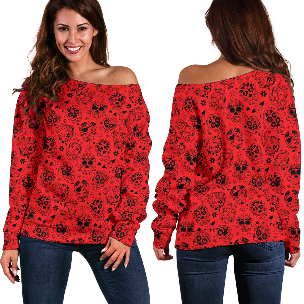 Red Sugar Skull Off Shoulder Hoodie - Hello Moa