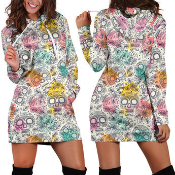 Pastel Sugar Skulls Women's Hoodie Dress
