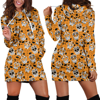 Orange Skulls Women's Hoodie Dress