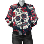 Red & White Sugar Skull Women's Bomber Jacket
