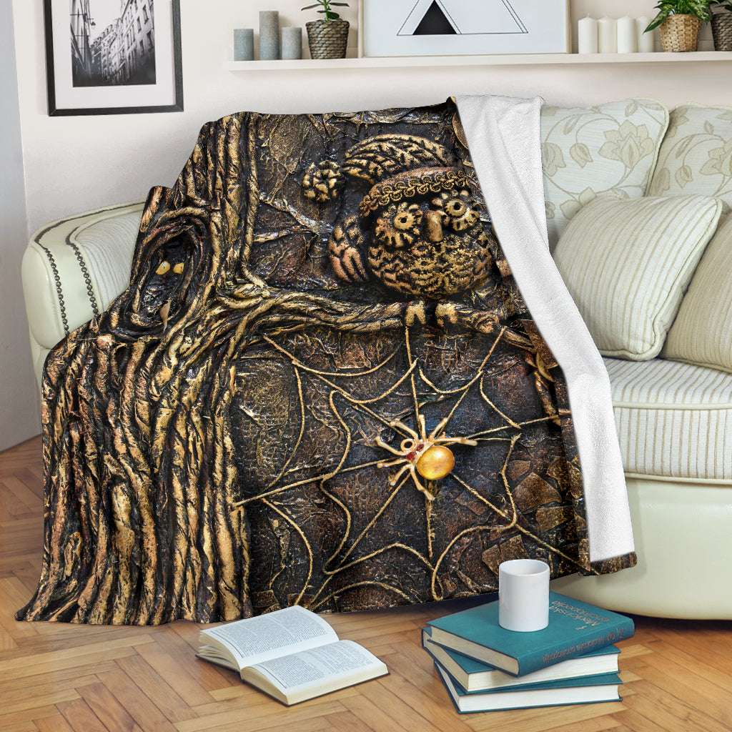 Steampunk Spider Owl Throw Blanket