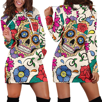 Floral Skull Women's Hoodie Dress
