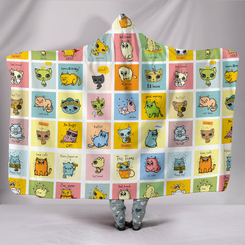 Comic Cat Hooded Blanket