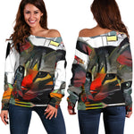 Art Cat II Off Shoulder Hoodie - Hello Moa