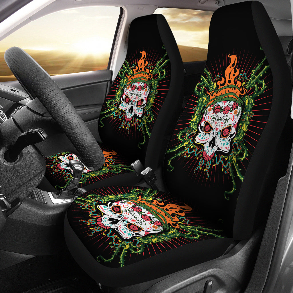 Fire Sugar Skull II Car Seat Covers - Hello Moa