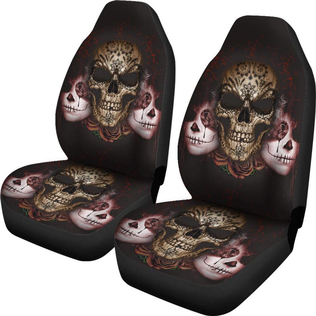 Dark Sugar Skull Car Seat Covers - Hello Moa