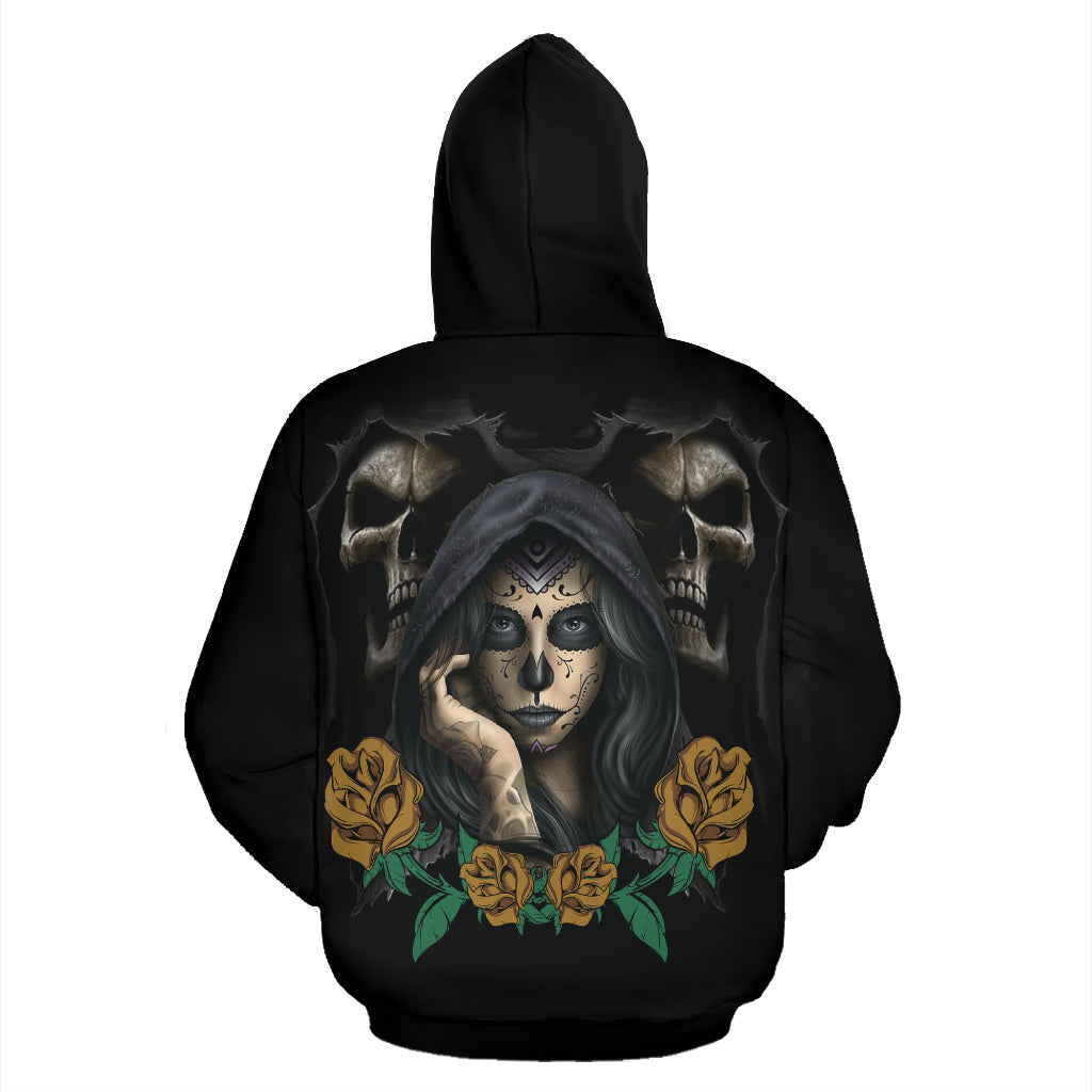 Yellow Rose Sugar Skull Hoodies