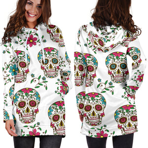 White Skulls Women's Hoodie Dress - Hello Moa