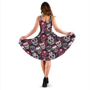 Red & White Sugar Skull Dress - Hello Moa