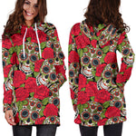 Rose Skull Women's Hoodie Dress - Hello Moa