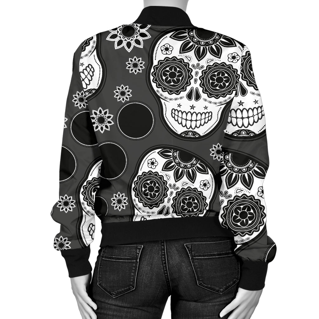 Black Skull Women's Bomber Jacket - Hello Moa