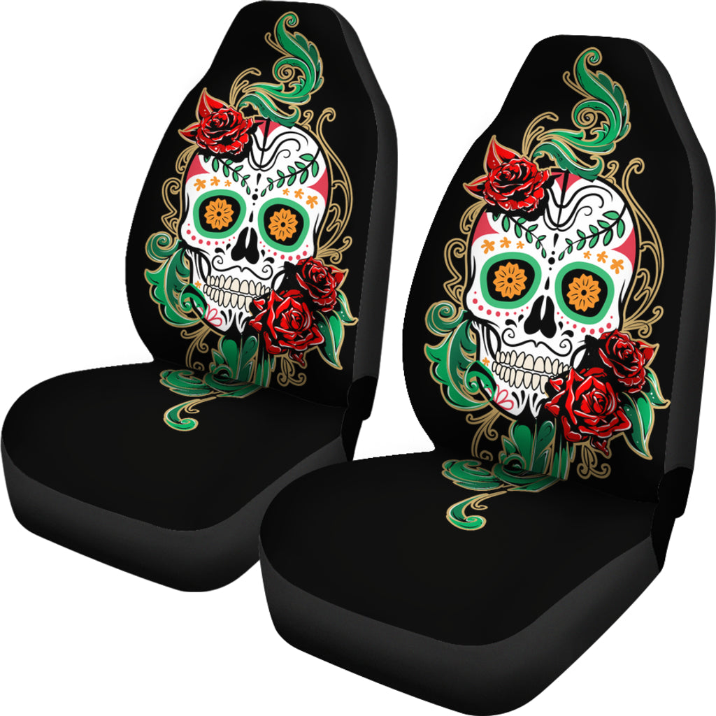 Green Skull Car Seat Covers - Hello Moa