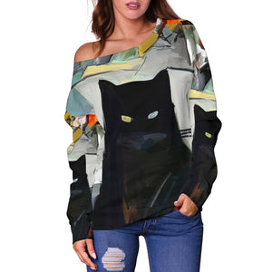 Art Cat Off Shoulder Hoodie - Hello Moa