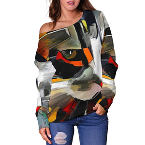Art Cat III Off Shoulder Hoodie - Hello Moa