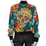Green Sugar Skull Women's Bomber Jacket - Hello Moa