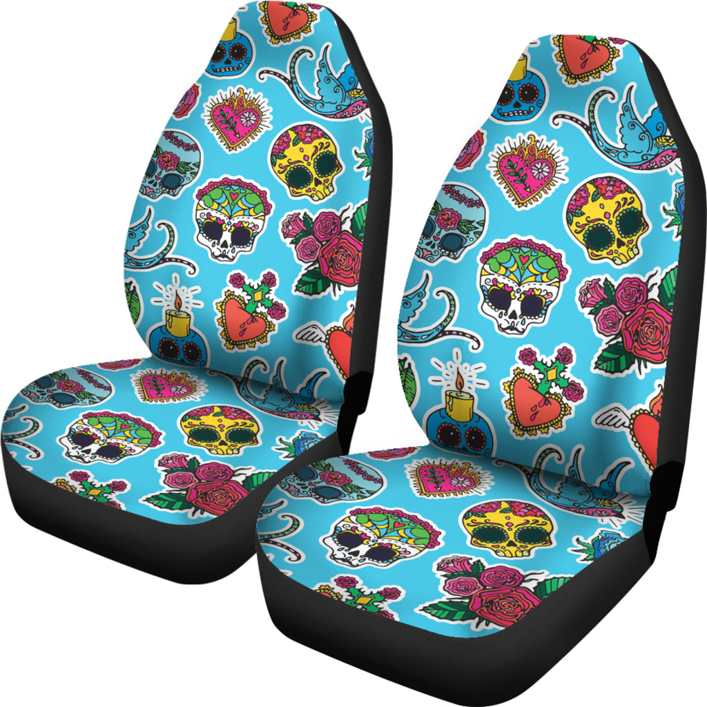 Blue Sugar Skull Car Seat Covers - Hello Moa