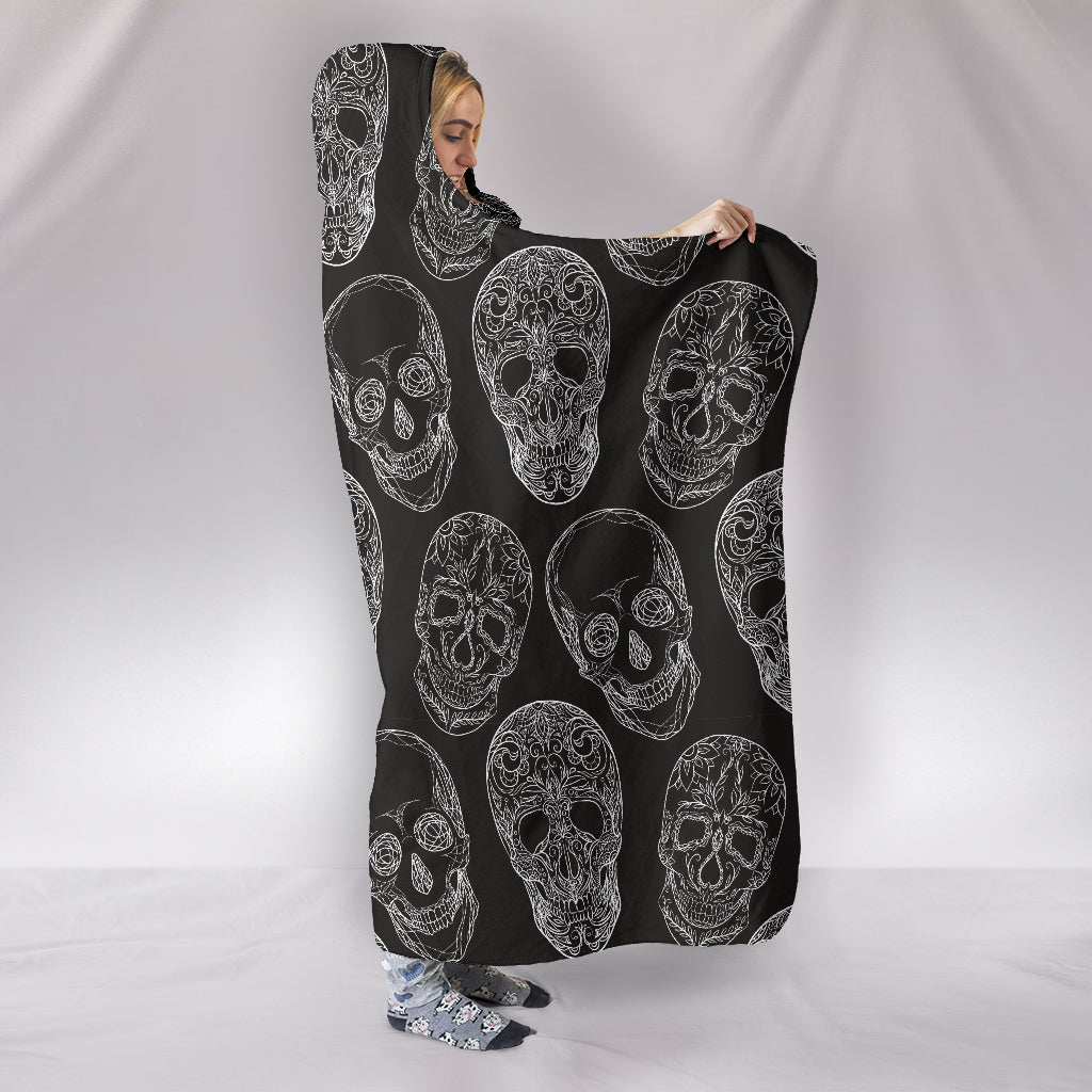 Black Sugar Skull II Hooded Blanket