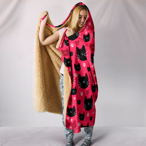 Red & Black Cat Hooded Blanket - Hello Moa