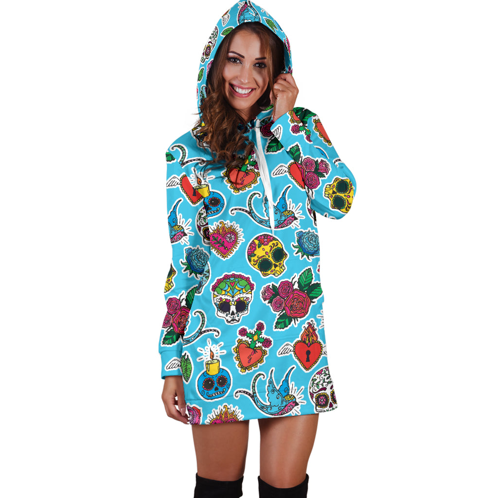 Blue Candle Skull Women's Hoodie Dress - Hello Moa