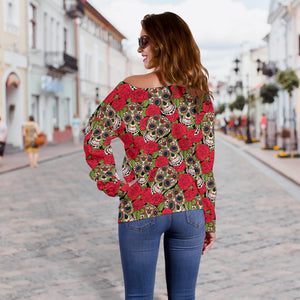Rose Sugar Skull Off Shoulder Sweater - Hello Moa