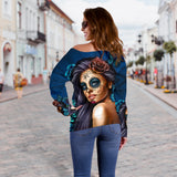 Blue Calavera Off Shoulder Hoodie