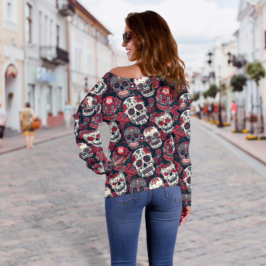 Red & White Skull Off Shoulder Hoodie - Hello Moa
