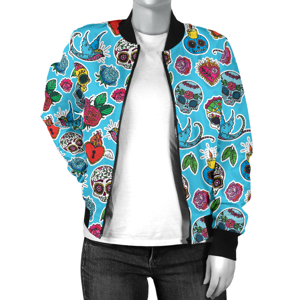 Blue Sugar Skull Women's Bomber Jacket - Hello Moa