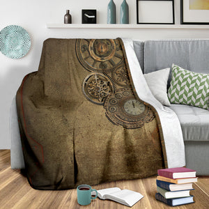 Steampunk Clocks Throw Blanket - Hello Moa