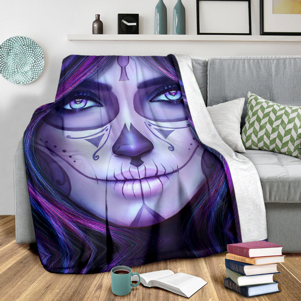 Purple Sugar Skull Throw Blanket
