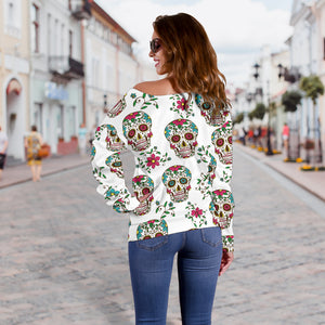 White Sugar Skull Off Shoulder Hoodie - Hello Moa