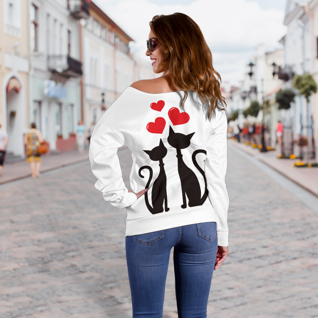 Love Cats Off Shoulder Hoodie - Hello Moa