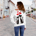 Love Cats Off Shoulder Hoodie