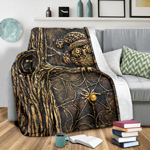 Steampunk Spider Owl Throw Blanket - Hello Moa