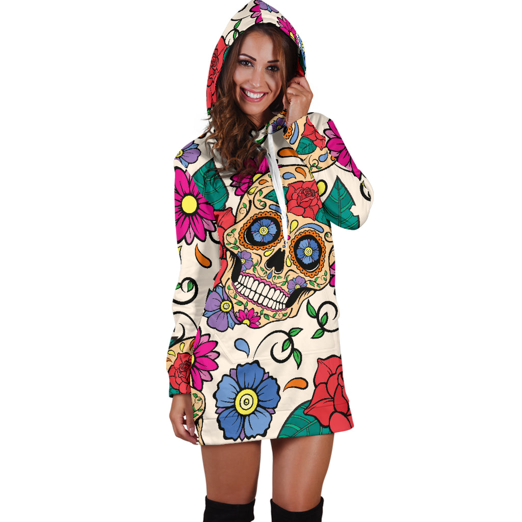 Floral Skull Women's Hoodie Dress - Hello Moa