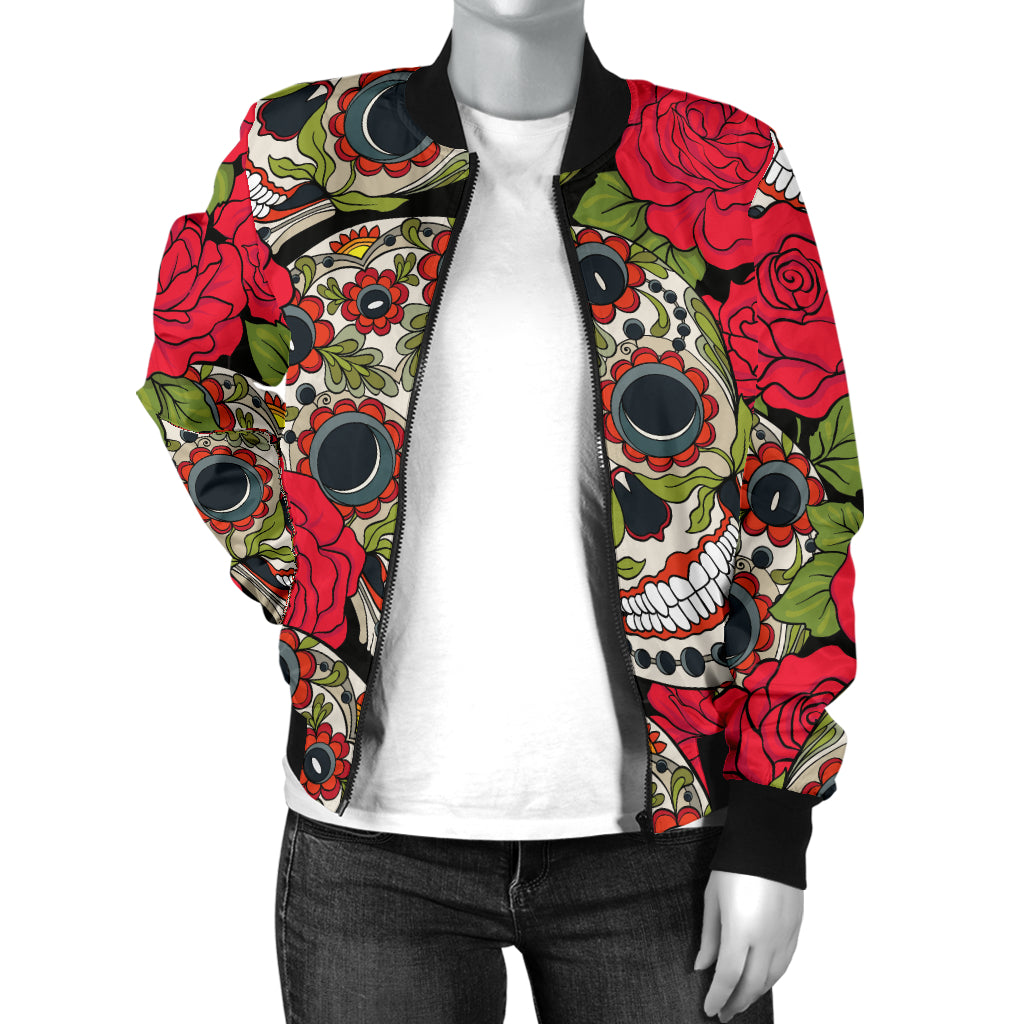 Rose Sugar Skull Women's Bomber Jacket - Hello Moa