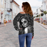 Black Calavera Off Shoulder Hoodie
