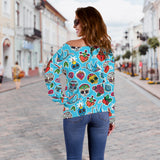 Blue Sugar Skull Off Shoulder Hoodie