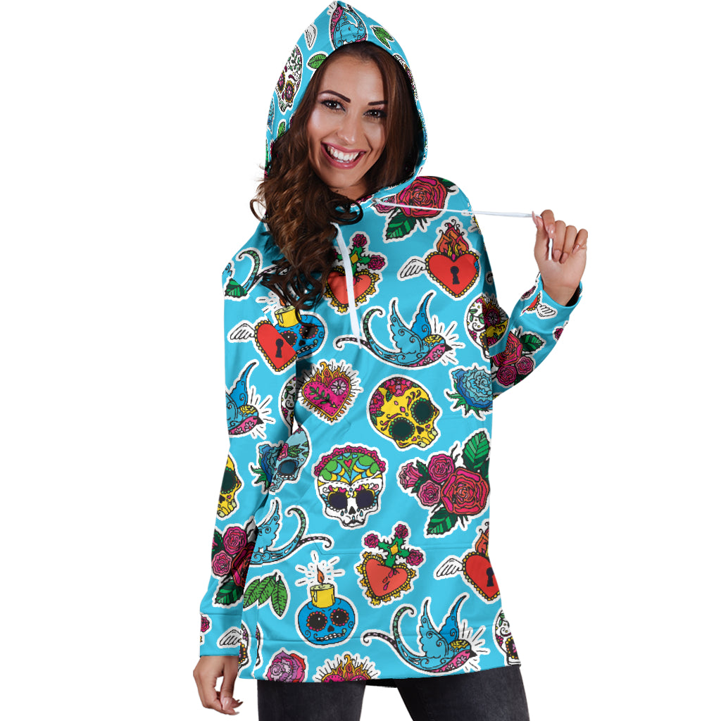 Blue Candle Skull Women's Hoodie Dress