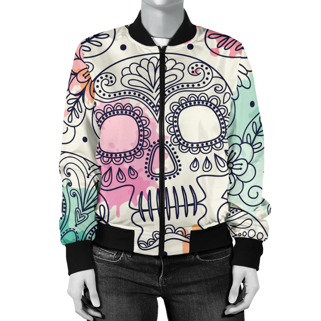Sugar Skull Women's Bomber Jacket - Hello Moa