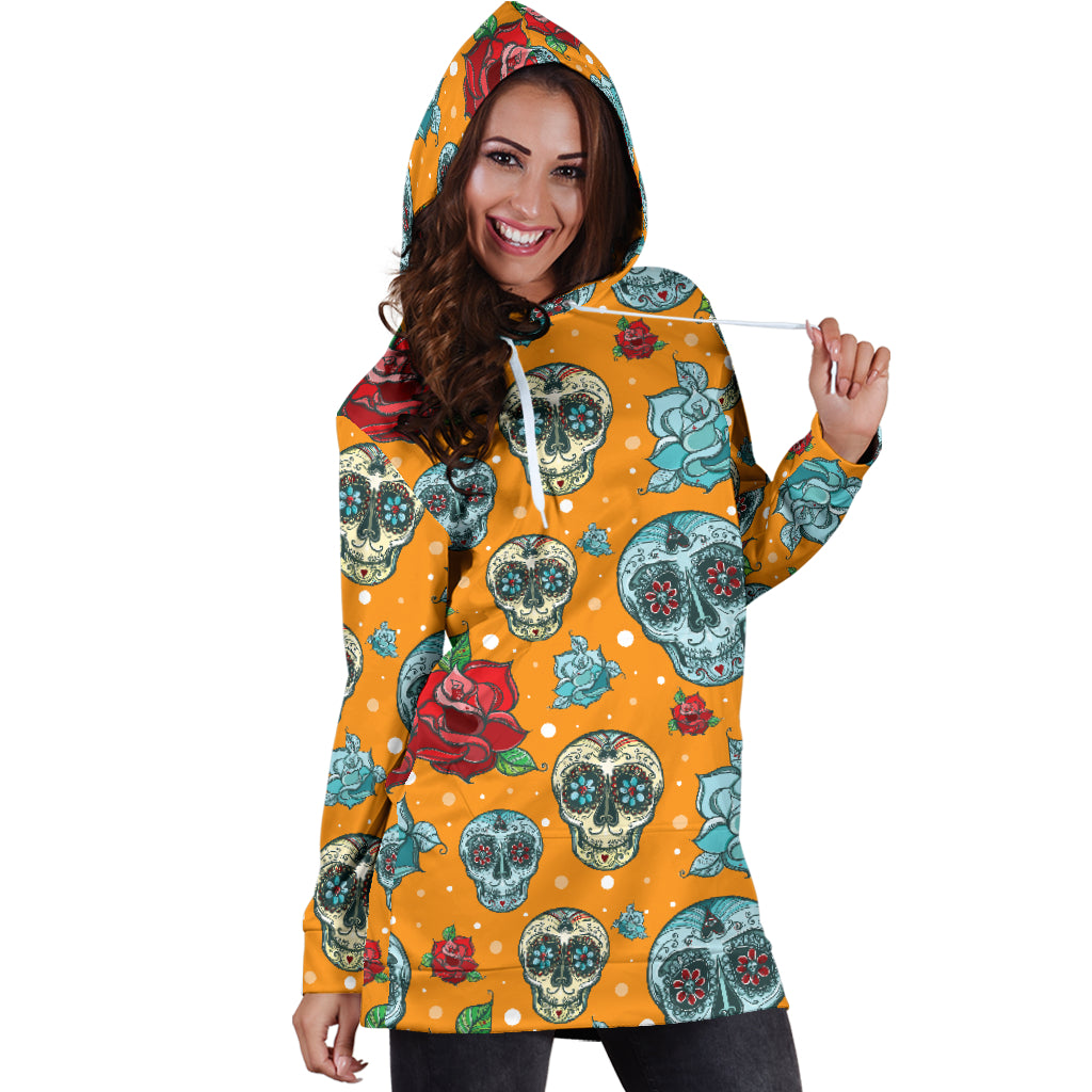 Red & Blue Sugar Skull Women's Hoodie Dress - Hello Moa