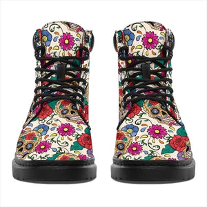 Flower Sugar Skull All-Season Boots - Hello Moa