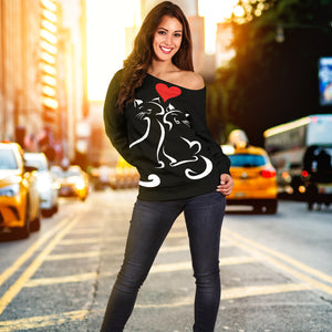 Love Cats II Off Shoulder Hoodie