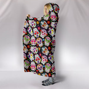 Multi-Colored Sugar Skull III Hooded Blanket - Hello Moa